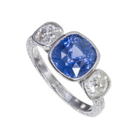 Antique Deco Cushion Cut 3.90ct Natural Violet Blue Sapphire Platinum Diamond Ring