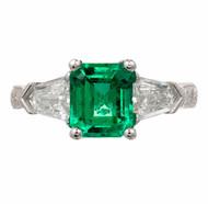1.73ct Emerald Diamond Platinum Art Deco Engagement Ring