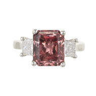 3.92ct Natural Vintage Stone Orange Pink Garnet Platinum .75ct Diamond Ring