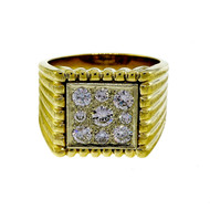 Vintage 1950's Men's 14k 1.50ct Square Impressive Diamond Ring