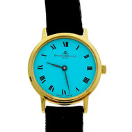 Baume & Mercier Ladies Gold Round Quartz Watch Custom Colored Turquoise  Dial
