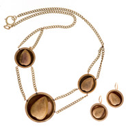 Antique Victorian 14k Green and Rose Gold Acorn Necklace and Earring Set.<br><br>