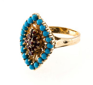 Estate 14k Bright Blue Turquoise and Garnet Ring