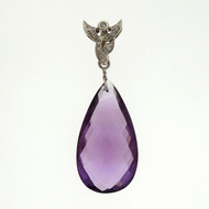 Antique Art Deco 35.00ct Amethyst Briolette 14k White Gold Pendant