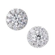 Hearts On Fine Dream Fulfillment 1.00ct 18k White Gold Diamond Halo Earrings