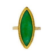 Estate Long Marquise Natural Jadeite Jade 24k Gold Ring