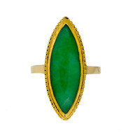 Estate Long Marquise Natural Jadeite Jade 24k Gold Ring