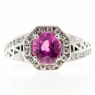 Antique Art Deco 1.12ct Cushion Natural Pink Sapphire Diamond Halo Ring Platinum