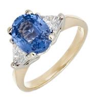 Vintage Estate 2.08ct Periwinkle Blue Oval Sapphire 14k Diamond Ring