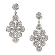 Vintage Red Carpet Tiffany & Co 4.15ct Rose Diamond Platinum Dangle Pendant Earrings<br><br>