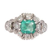 .90ct Bright Green Emerald.10ct Diamond Platinum Ring. 1900<br><br>