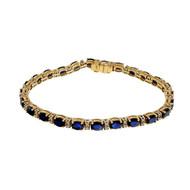 Estate 12.50ct Royal Blue Sapphire Diamond 14k Yellow Gold Bracelet