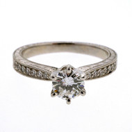 Colorless 0.46ct Diamond Platinum Hand Engraved Pave Set Engagement Ring