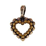 Estate Lagos Caviar Heart 18k Gold Silver Heart Pendant