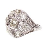 Antique 1927 Art Deco Filigree .49ct Old Mine Brilliant Diamond Dome Ring