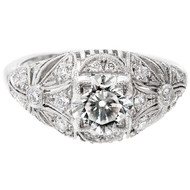 Antique Edwardian Art Deco 1.03ct Transitional Cut Platinum Diamond Ring
