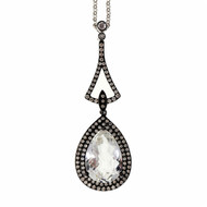 Art Deco  Style 14k White Gold Topaz .32ct Diamond Dangle Pendant Necklace