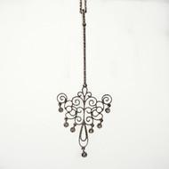 Art Deco .25ct Pave Diamond Elongated Dangle 14k White Gold Pendant Necklace<br><br><ul>
