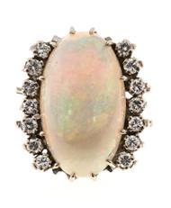 Estate 14k White Gold Fine 10ct Opal & Round Diamond Ring