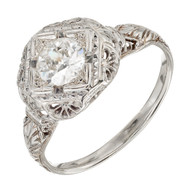 Antique Art Deco 18k White Gold .65ct Old European Cut Diamond Engagement Ring