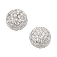 1.50ct Diamond 3-D Dome Cluster 18k White Gold Earrings
