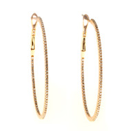 Estate 18k Pink Gold Inside Cut Oval Diamond Clip Post Hoop Earrings