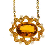 Vintage Art Nouveau 14k 5.20ct Citrine Natural Pearl Yellow Gold Necklace