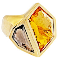 Estate Fantasy Cut 7.85ct Citrine Smoky Quartz Heavy 18k Yellow Gold Ring Allia