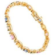 Multi-Color Genuine Sapphire NTF Designer 7.00ct 14k Yellow Gold And Diamond Bracelet