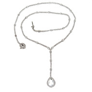 Estate 6.56ct Platinum Milgrain Bead Set Hand Made Diamond All Around Necklace
