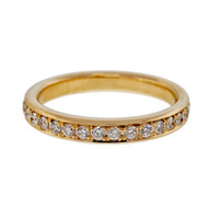 Bead Set Pave PSD 3mm Wide .58ct Diamond 14k Yellow Gold Band Ring