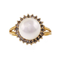 Vintage 8.5mm Japanese Cultured High Grade Pearl 14k Yellow Gold Ring