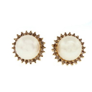 Estate 8mm Cultured Pearl 14k Yellow Gold Diamond Earrings
