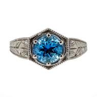Estate Art Deco Platinum Filigree 1.00ct Aqua Engagement Ring