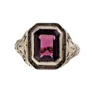 Estate Art Deco Filigree 3.11ct Rhodolite Garnet 14k White Gold Ring