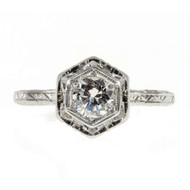 Art Deco Vintage 1940 .31ct Transitional Cut Filigree Diamond Engagement Ring