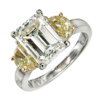 Art Deco 3.03ct Emerald Cut Diamond Yellow Side Diamond Platinum Engagement Ring