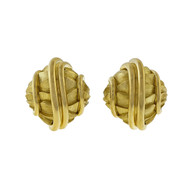 Estate Henry Dunay 1990 Textured Shiny Domed Clip Post Earrings