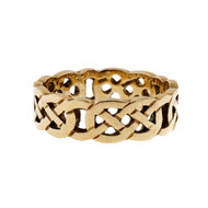 Celtic Cut Out Repeating Pattern 14k Yellow Gold Wedding Band Ring