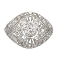 Antique Art Deco 1900 Old Mine Cut Diamond Platinum Pierced Dome Ring