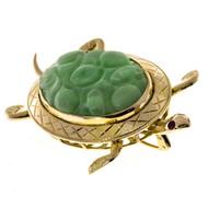 Estate Vintage 1940 14k Yellow Gold Natural Jadeite Jade Turtle Pin