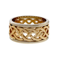 Celtic Repeating Woven Design Yellow White Gold Cut Out Wedding Band Ring PSD