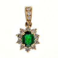 Estate .75ct Bright Green Emerald Diamond 14k Yellow Gold Pendant