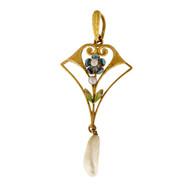 Antique Krementz American Freshwater Pearl 14k Yellow Gold Enamel Pendant