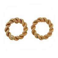Vintage 1940 Solid Rope Chain Open Circle Pierced 14k Yellow Gold Earrings