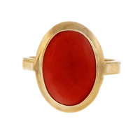Estate Vintage 1960 Natural Untreated Coral 18k Yellow Gold Ring