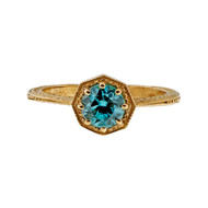 Vintage Art Deco 14k Yellow Gold 1940 – 1950 1.05ct Blue Zircon Ring