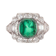 Tiffany & Co  Sugar Loaf Cabochon Colombian Emerald Platinum Diamond Ring
