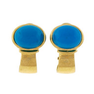 Estate 1960 Persian Turquoise 18k Yellow Gold Clip Post Earrings