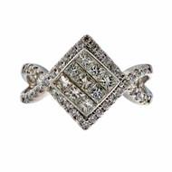 Estate 1.00ct Princess Round Cut Invisible Set 14k White Gold Ring